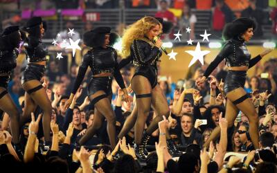 Beyoncé performing at the Pepsi Super Bowl 50 Halftime Show