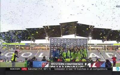 Celebración de Seattle Sounders tras clasificar a la final de la MLS
