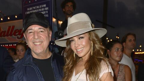 Tommy Mottola y Thalía en la Semana de la Moda en Nueva York.