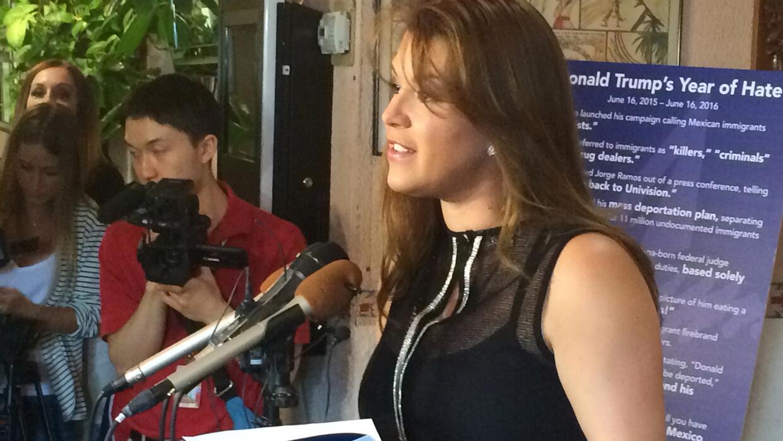 Alicia Machado en junio durante una intervención contra Trump.