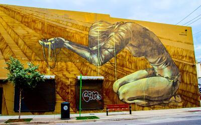 Artista sudafricana Faith47 creo este mural en Wynwood.