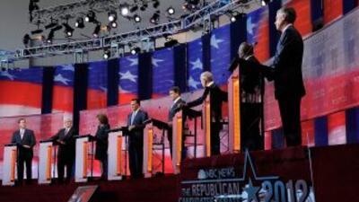 Los precandidatos republicanos a la presidencia de Estados Unidos debati...