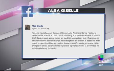 Alba Reyes pide a las autoridades no difundir datos del asesinato de su...
