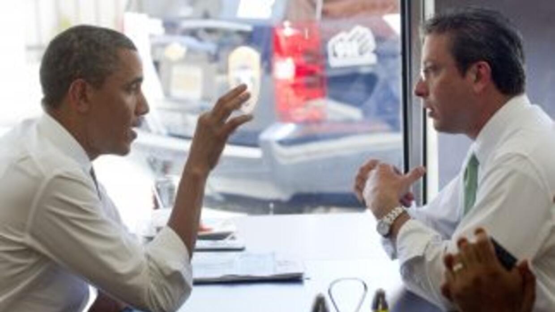 El candidato Alejandro García Padilla, visto aquí con el Presidente Obam...