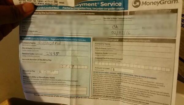 Recibo de un pago por una estafa del servicio del luz
