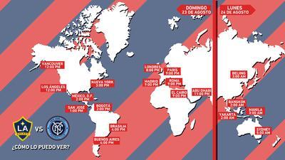 Mapa de horarios para LA Galaxy y New York City FC