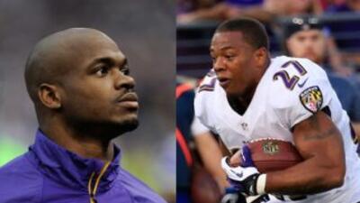 Adrian Peterson de los Vikings y Ray Rice de los Ravens en el ojo del hu...