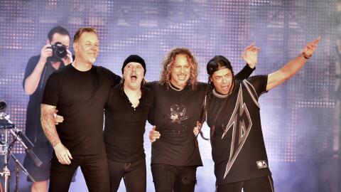 SAN FRANCISCO, CA - FEBRUARY 06: (L-R) Musicians James Hetfield, Lars Ul...