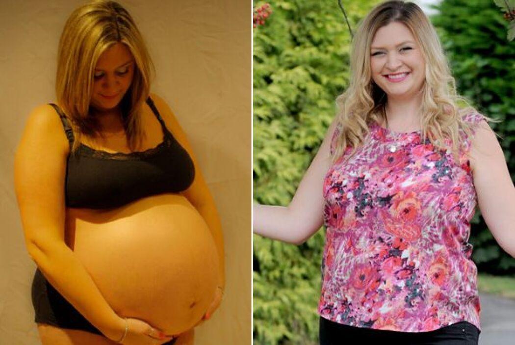 Después de subir más de 90 libras durante su primer embarazo, su pancita...