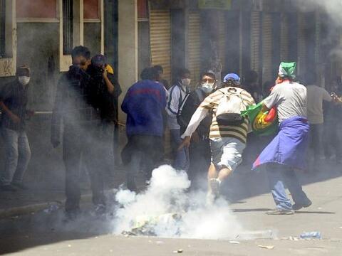 Las protestas que realizaron los universitarios en La Paz, Bolivia, para...
