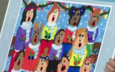 Estudiantes hispanos ganan concurso de diseño de tarjetas navideñas en H...
