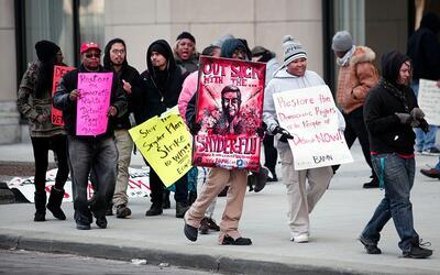 Protesta de maestros de escuelas públicas en Detroit