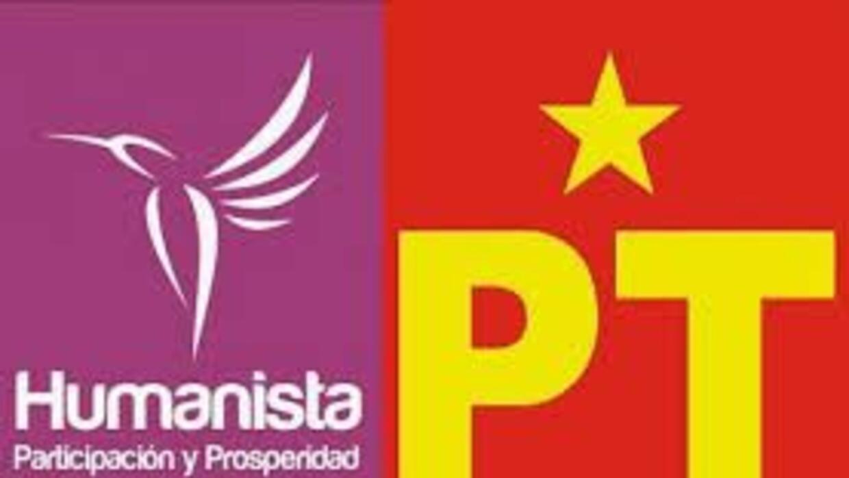Los logos del Partido Humanista y del Partido del Trabajo. (Imágenes tom...