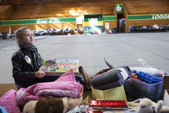 Riley Bradley, de 7 años es retratada con donaciones que llevó a un refu...