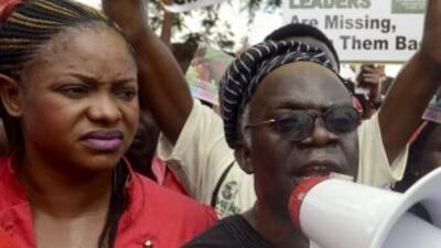 Activistas de derechos humanos de Nigeria hablan para para presionar por...
