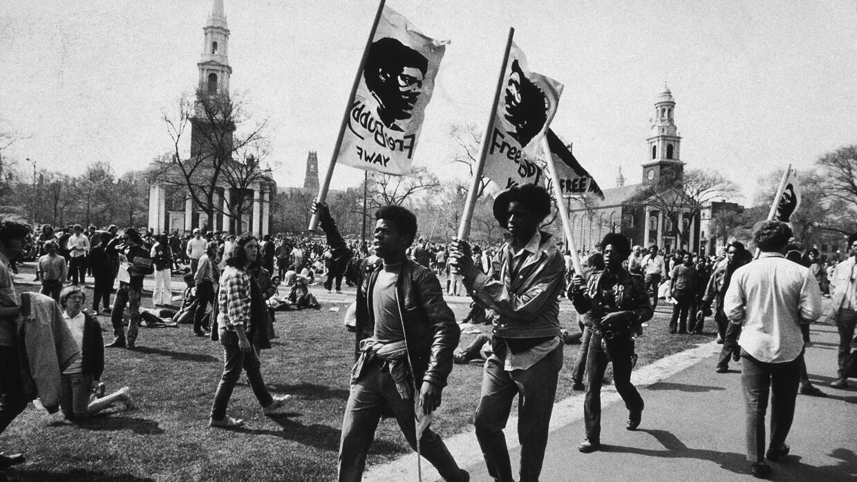 May 1970, Supporters march with flags during protest in favor of Black P...