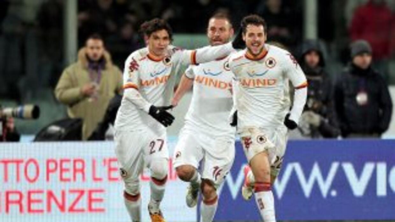 Mattia Destro celebra el gol del triunfo de Roma en la 'Coppa de Italia'.