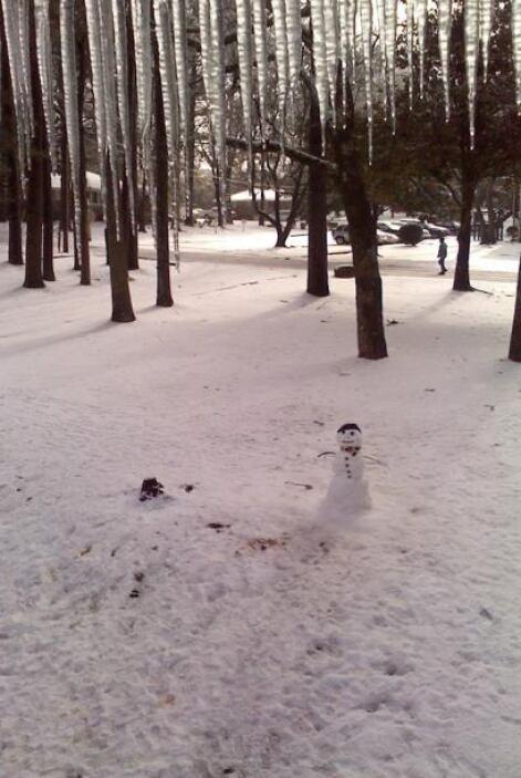 En Rockbridge, Atlanta, algunas personas usaron la nieve para formar muñ...