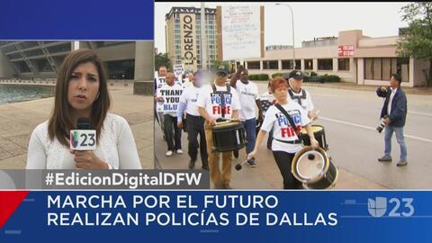 Asociación de la Policía de Dallas protestan por mejoras salariales