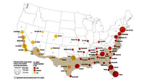 Mapa de riesgo del zika elaborado por la Nasa, según el nú...
