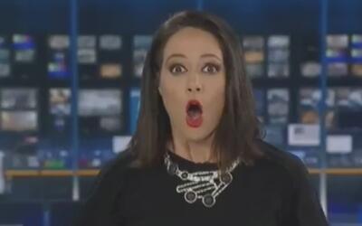 La divertida reacción de una presentadora australiana sorprendida mientr...