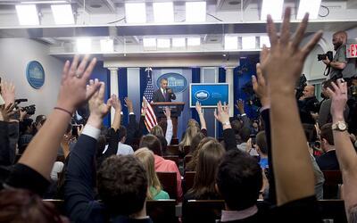 La actual sala de conferencias de prensa de la Casa Blanca funciona desd...