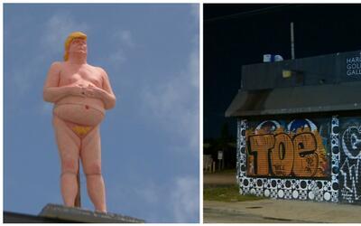 La estatua de Trumpo desnudo desapareció del techo de un edificio...