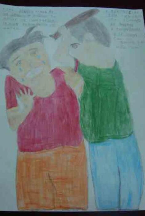 En los dibujos se muestran problemas como desnutrición, asaltos, secuest...