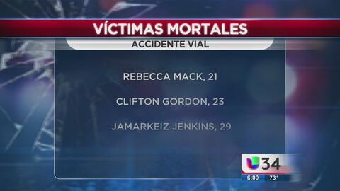 Dos heridos y tres muertos en accidente en Jackson