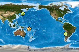 Imagen tomada delCentro de Alerta de Tsunamis para el Pacífico.