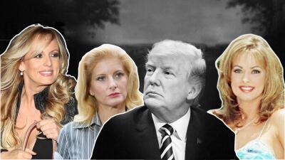 De izquierda a derecha, Stormy Daniels, Summer Zervos, Donald Trump y Ka...