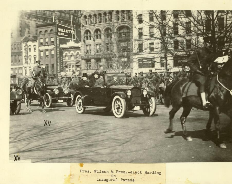 Woodrow Wilson, Warren G. Harding, Philander Knox, and Joseph Cannon, in...