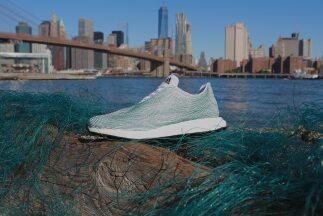 Prototipo de zapatilla hecha de plástico del mar. Cortesía: Adidas