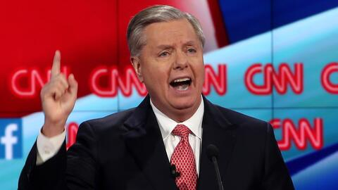 Lindsey Graham durante el debate presidencial republicano de CNN en dici...