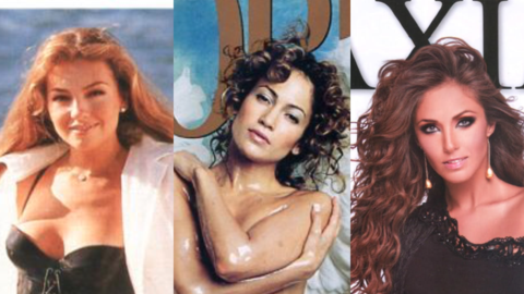 Las cantantes Thalía, Jennifer López y Anahí posaro...