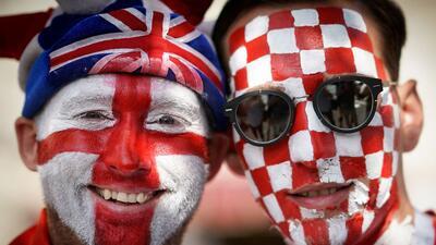 Los colores de los hinchas encienden la fiesta de la semifinal entre Croacia e Inglaterra