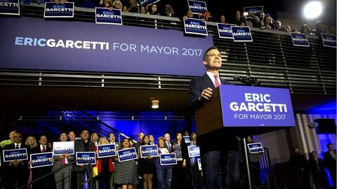 El alcalde Garcetti al declararse ganador de la contienda.