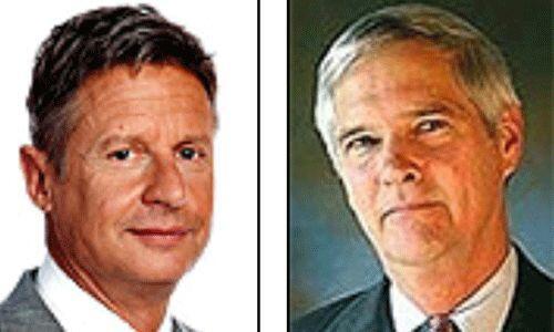 Los candidatos del Partido Libertario: Gary Johnson y Jim Gray. Es el te...