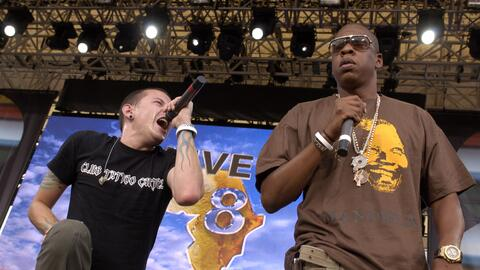Chester Bennington of Linkin Park with Jay-Z during LIVE 8 - Philadelphi...