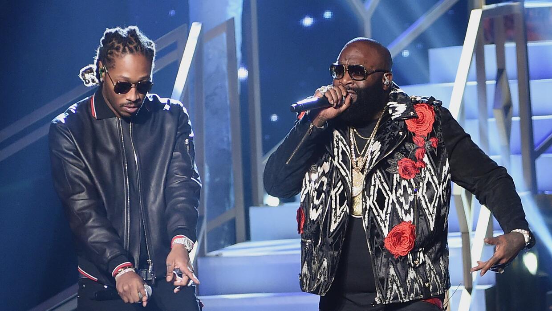 LOS ANGELES, CA - NOVEMBER 20: Rappers Future (L) and Rick Ross perform...