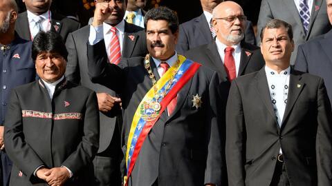Evo Morales, Nicolás Maduro y Rafael Correa, en una cumbre del Al...
