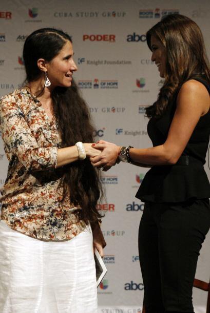 La bloguera cubana Yoani Sánchez contestó preguntas, por m...
