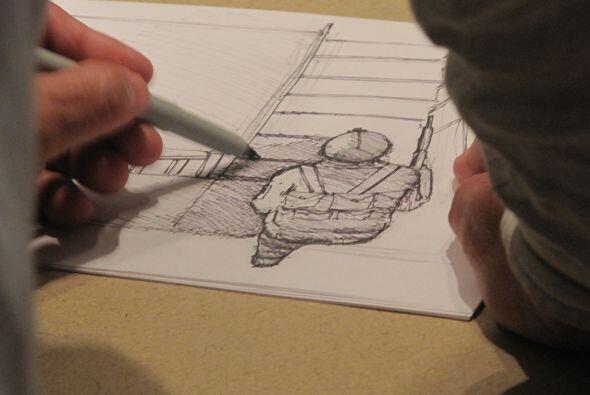 Luego, Domínguez, el diseñador gráfico de la cadena Univision, dibujó a...