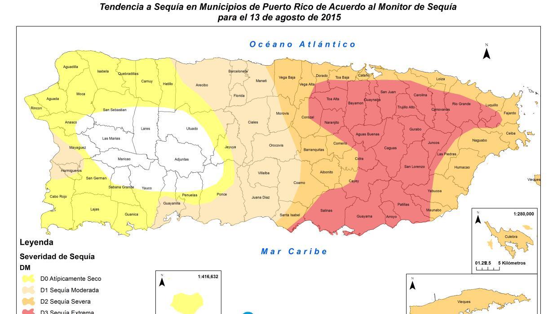 Mapa sequía extrema Puerto Rico