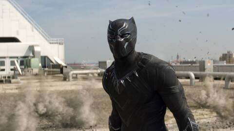 A screenshot of the Black Panther character in Marvel's 'Captain...