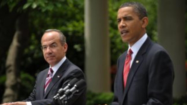 Los presidentes de México, Felipe Calderón (México) y Barack Obama (Esta...