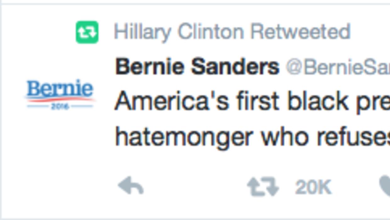 Clinton comparte un tuit sobre Trump y el KKK enviado por... ¿Sanders? S...