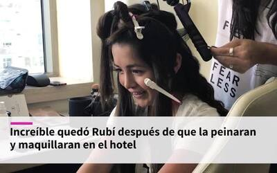 Rubí Ibarra es maquillada antes de la gala de Premio Lo Nuestro