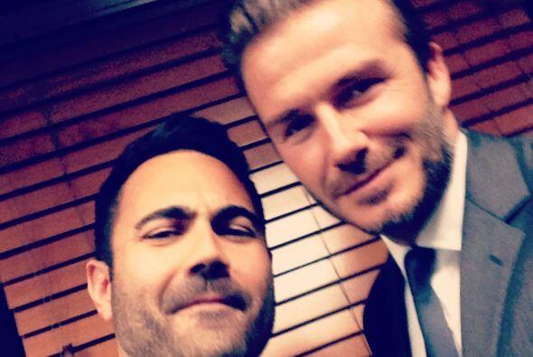 David Beckham y Enrique Santos, personalidad de Mix 98.3 FM