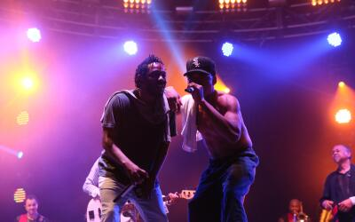 Kendrick Lamar and Chance The Rapper perform during the second day of th...